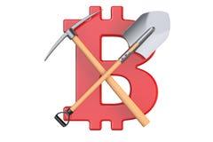 Estrazione mineraria di Bitcoin, concetto di e-business, rappresentazione 3D Fotografia Stock