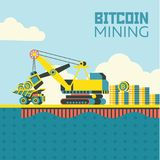 Estrazione mineraria di Bitcoin Cryptocurrency Illustrazione di vettore Immagine Stock