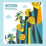 Estrazione mineraria di Bitcoin Illustrazione concettuale di vettore Cryptocurrency Immagine Stock Libera da Diritti