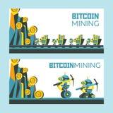 Estrazione mineraria di Bitcoin Illustrazione concettuale di vettore Cryptocurrency Fotografia Stock