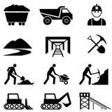 Estrazione mineraria ed insieme dell'icona del minatore Fotografia Stock Libera da Diritti