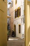 Estrecha las calles de Paxos Imagen de archivo libre de regalías
