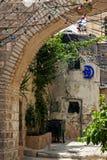 Estreche la calle cobbled entre casas empedradas tradicionales del cuarto jud?o en la vieja parte hist?rica de Jerusal?n, Israel imagen de archivo