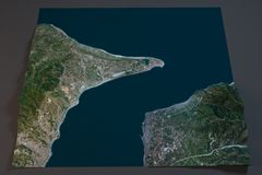 Estrecho de Messina, visión por satélite, de Sicilia y de Calabria, Italia Imagen de archivo libre de regalías