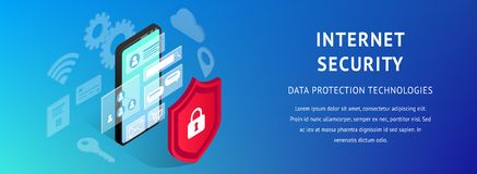 Estrecho horizontal de Internet de la seguridad de la bandera isométrica del smartphone stock de ilustración
