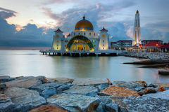 Estrechos mezquita, Malasia de Malaca Imágenes de archivo libres de regalías