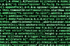 Estreia do programa informático Datilografia de programação do código Padrões da codificação do Web site da tecnologia da informa imagens de stock royalty free