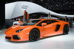 Estreia mundial de Lamborghini Aventador LP700-4 Foto de Stock Royalty Free