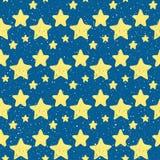 Estrela amarela da garatuja no fundo sem emenda azul ilustração royalty free
