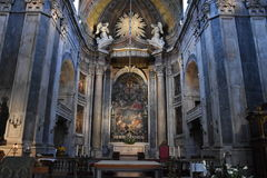 Estrela Basilica in Lisbon, Portugal. Construction started in 1779 and was finished in 1790, after the death of Jose caused by smallpox in 1788 stock photography
