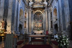 Estrela Basilica in Lisbon, Portugal. Construction started in 1779 and was finished in 1790, after the death of Jose caused by smallpox in 1788 royalty free stock photos