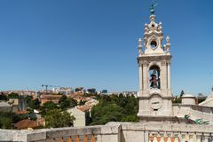 Estrela Basilica Royal Basilica and Convent of the Most Sacred Heart of Jesus Tower In Lisbon. Portugal stock photo