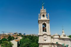 Estrela Basilica Royal Basilica and Convent of the Most Sacred Heart of Jesus Tower In Lisbon. Portugal royalty free stock image