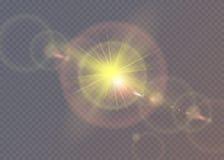 Estrela brilhante Sol translúcido do brilho, alargamento brilhante Foto de Stock Royalty Free