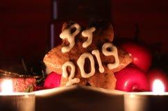 A estrela caseiro do pão-de-espécie cobriu com a crosta de gelo branca e rotula frutos de inclinação dos againts do PF 2019 com d imagens de stock