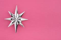 Estrela da prata da decoração do Natal fotografia de stock