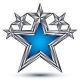 Estrela de azuis marinhos com o esboço de prata, geométrico Imagem de Stock Royalty Free