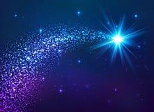 Estrela de brilho azul com cauda de poeira ilustração do vetor