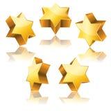 Estrela de David 3d dourada metálica Fotografia de Stock Royalty Free