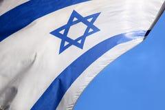 Estrela de David em uma bandeira israelita azul e branca Fotos de Stock Royalty Free
