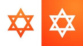 Estrela de David na cor alaranjada Símbolo do Hexagram do judaism ilustração stock