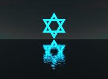 Estrela de David que incandesce sobre a água na noite ilustração royalty free