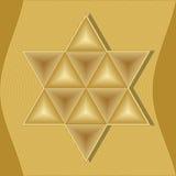 Estrela de David, símbolo do judeu, judaism e Israel compostos de triângulos gravados dourados ilustração do vetor