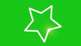 Estrela de giro com a tela movente do verde do alargamento filme