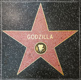 A estrela de Godzilla na caminhada de Hollywood da fama fotos de stock