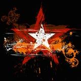 Estrela de Grunge, ornamento das flores Fotos de Stock
