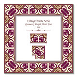 Estrela de Purple Heart da geometria do quadro 146 do vintage 3D Imagem de Stock
