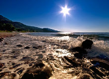 Estrela de Sun sobre o mar Fotografia de Stock Royalty Free