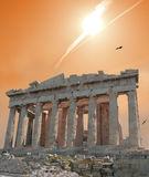 Estrela de tiro sobre o Acropolis imagens de stock