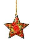 Estrela decorada do Natal com trajeto de grampeamento Imagem de Stock Royalty Free