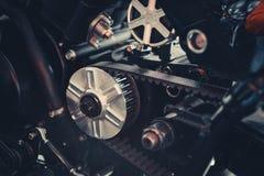 Estrela dianteira da motocicleta com close-up da rotação da correia fotos de stock royalty free