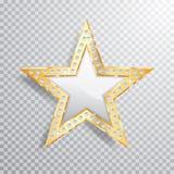 Estrela do branco do ouro da gema ilustração stock