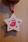 Estrela do brinquedo do Natal com uma coruja Fotografia de Stock Royalty Free