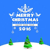 Estrela do céu da árvore do cartão do Feliz Natal fotografia de stock