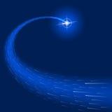 A estrela do efeito da luz do fulgor estoura o fundo do azul dos sparkles Fotos de Stock Royalty Free