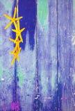 Estrela do mar amarela no fundo azul Imagem de Stock