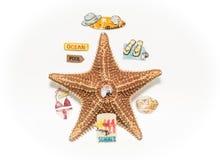 Estrela do mar cercada com as vários sinais, etiquetas, e mensagens das férias isoladas no fundo cinzento branco Fotos de Stock Royalty Free