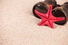 Estrela do mar e binóculos na areia Fotos de Stock Royalty Free