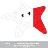 Estrela do mar a ser colorida Jogo do traço do vetor Fotos de Stock