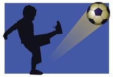 Estrela do menino do futebol ilustração stock