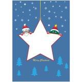 Estrela do Natal com árvore e Santa Fotos de Stock Royalty Free