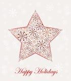Estrela do Natal feita dos flocos de neve Imagens de Stock Royalty Free