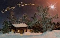 Estrela do Natal sobre a casa Conceito do feriado para o Feliz Natal Fotografia de Stock