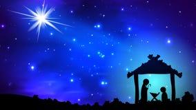 Estrela do Natal sobre jesus ilustração do vetor