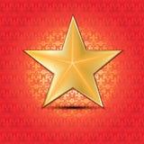 Estrela do ouro com fundo floral Ilustração Stock