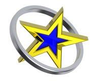 Estrela do ouro em um círculo do cromo Fotos de Stock Royalty Free